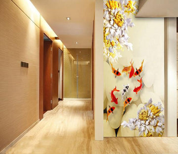 3D Flowers golden fish carving Wallpaper AJ Wallpaper 1