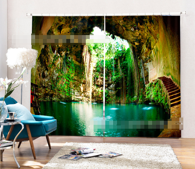 3D Pretty Cave Lake 1045 Curtains Drapes Wallpaper AJ Wallpaper