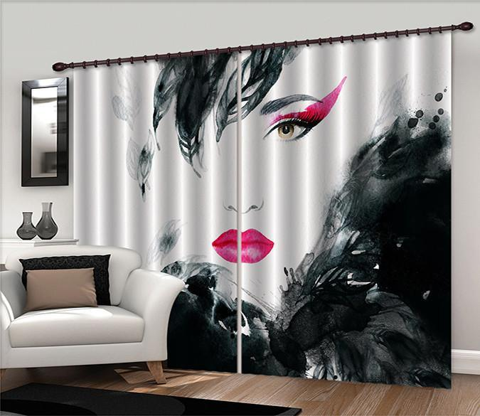 3D Graffiti Red Lip Woman 589 Curtains Drapes Wallpaper AJ Wallpaper