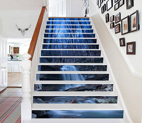 3D Bare Forest Creek 739 Stair Risers Wallpaper AJ Wallpaper