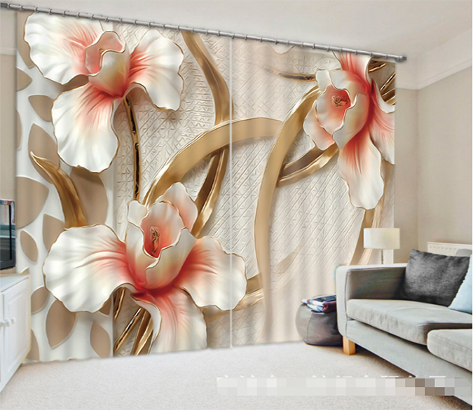 3D Metal Flowers 1306 Curtains Drapes Wallpaper AJ Wallpaper
