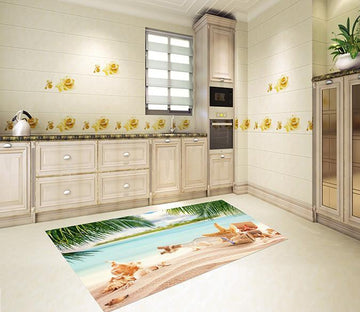 3D Beach Drifting Bottle 091 Kitchen Mat Floor Mural Wallpaper AJ Wallpaper