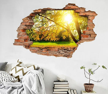 3D Lawn Trees Sunshine 197 Broken Wall Murals Wallpaper AJ Wallpaper