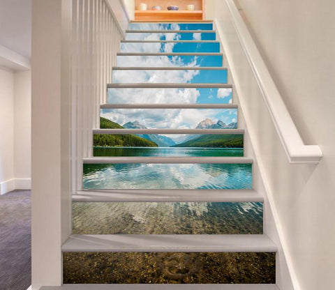 3D Pretty Lake Scenery 17 Stair Risers