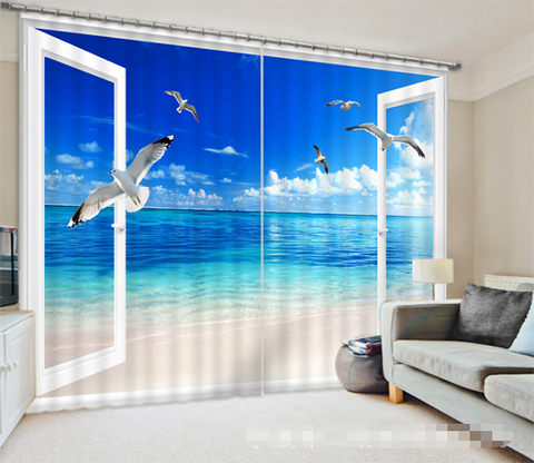 3D Window Sea Seagulls 1272 Curtains Drapes Wallpaper AJ Wallpaper