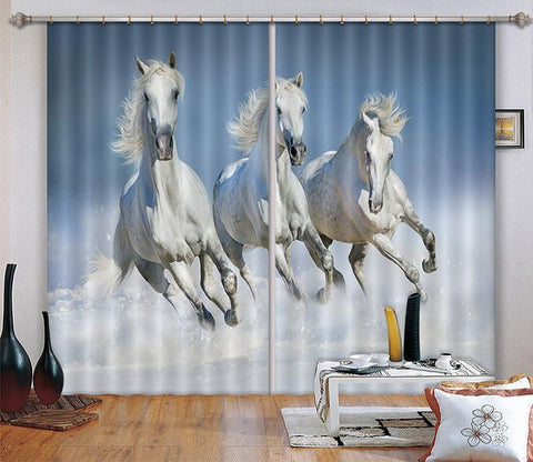 3D Running Horses 49 Curtains Drapes