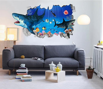3D Ocean Sharks 105 Broken Wall Murals Wallpaper AJ Wallpaper