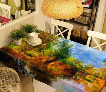 3D River Trees Painting 227 Tablecloths Wallpaper AJ Wallpaper