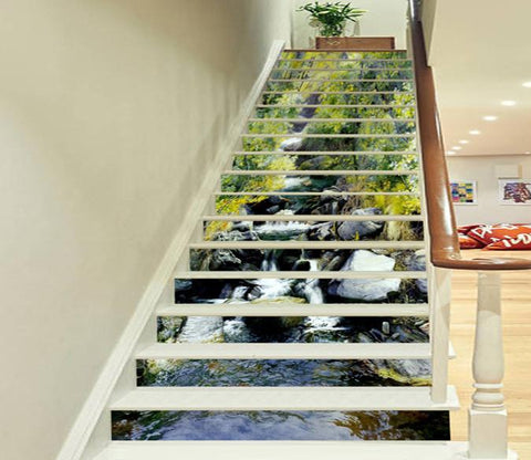 3D Forest River Stones 658 Stair Risers