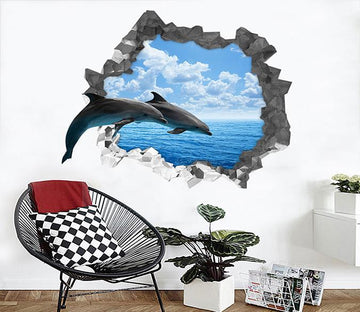 3D Blue Sea Dolphins 180 Broken Wall Murals Wallpaper AJ Wallpaper