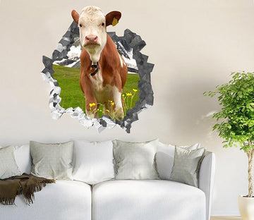 3D Lawn Cattle 192 Broken Wall Murals Wallpaper AJ Wallpaper