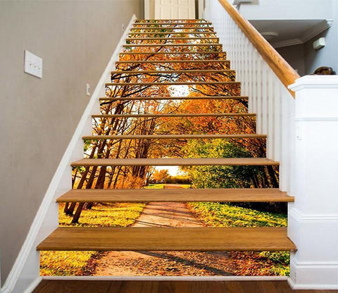 3D Autumn Trees Path 1457 Stair Risers Wallpaper AJ Wallpaper