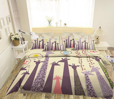 3D Cartoon Giraffes 94 Bed Pillowcases Quilt Wallpaper AJ Wallpaper