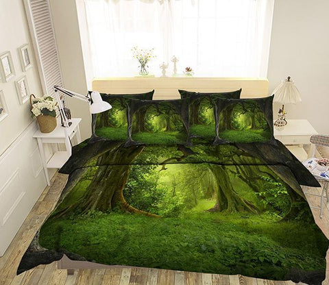 3D Thick Forest 21 Bed Pillowcases Quilt