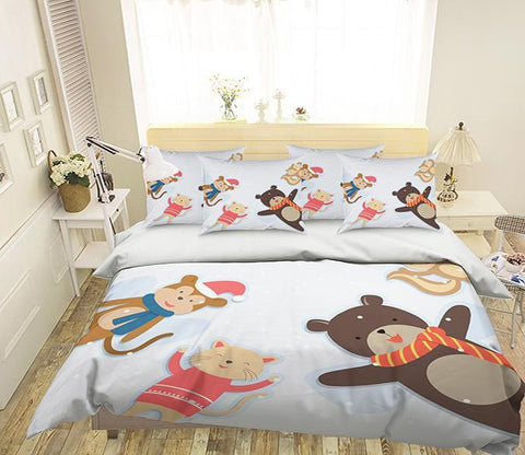 3D Lovely Animals Dolls 354 Bed Pillowcases Quilt