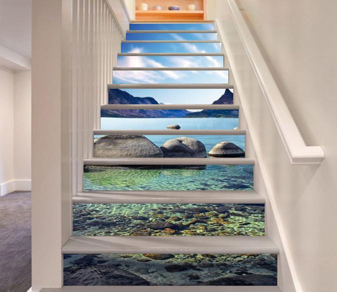 3D Mountains Lake Stones 796 Stair Risers Wallpaper AJ Wallpaper