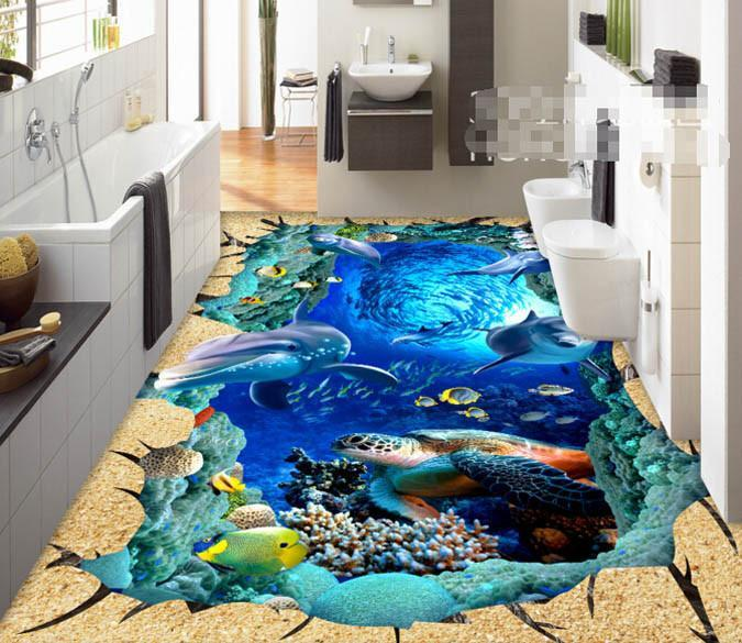 3D Beautiful Fish Group Floor Mural Wallpaper AJ Wallpaper 2
