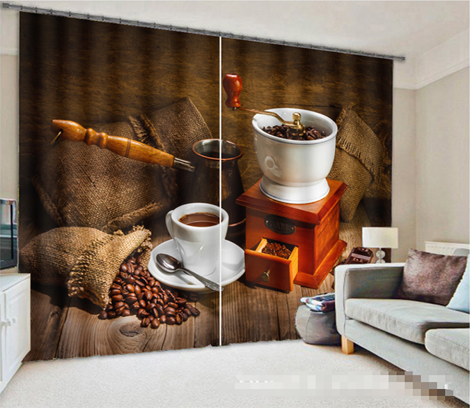 3D Coffee 1064 Curtains Drapes Wallpaper AJ Wallpaper
