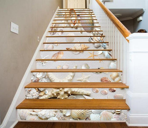 3D Beach Treasures 427 Stair Risers Wallpaper AJ Wallpaper