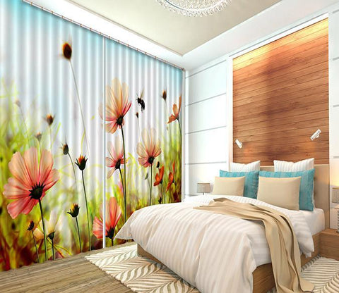 3D Flowers And Bee 284 Curtains Drapes Wallpaper AJ Wallpaper