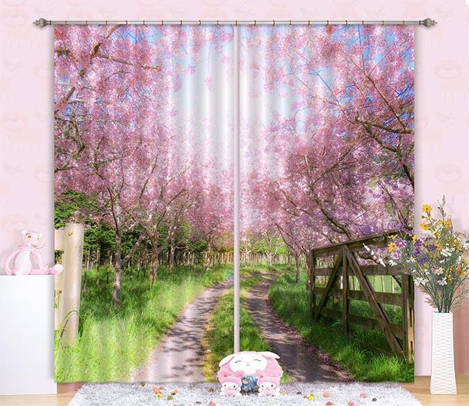 3D Roadside Flowers Trees Curtains Drapes Wallpaper AJ Wallpaper