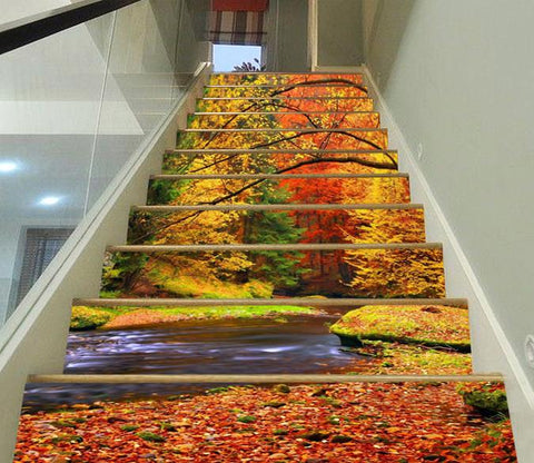 3D Riverside Color Trees 306 Stair Risers