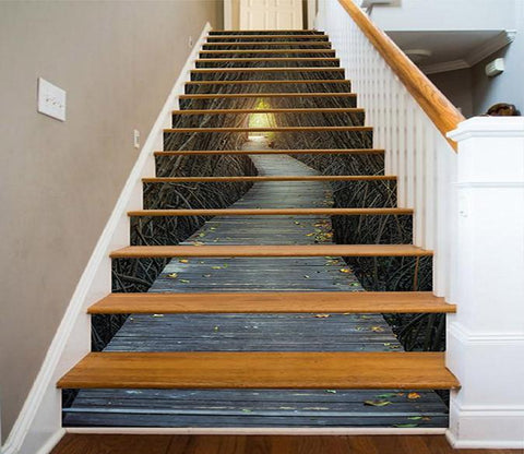 3D Bare Trees Wood Path 1557 Stair Risers Wallpaper AJ Wallpaper