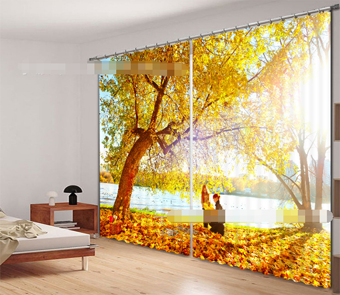 3D Lakeside Fallen Leaves 2145 Curtains Drapes Wallpaper AJ Wallpaper