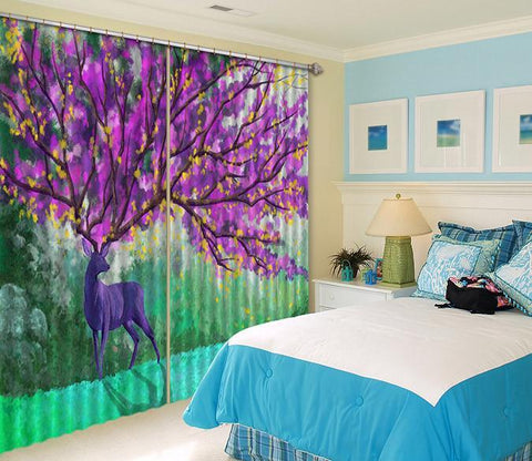 3D Animal Flowering Tree 518 Curtains Drapes Wallpaper AJ Wallpaper