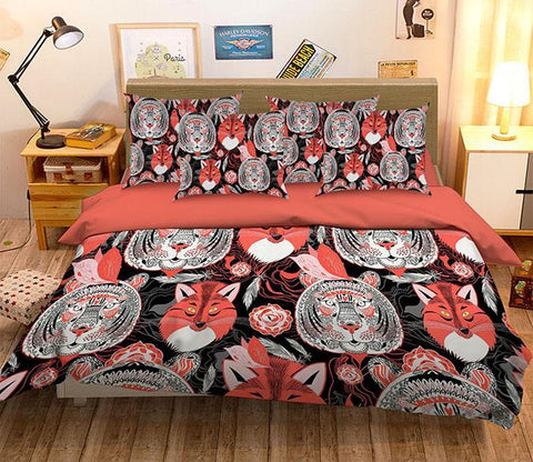 3D Tigers Foxes Pattern 314 Bed Pillowcases Quilt