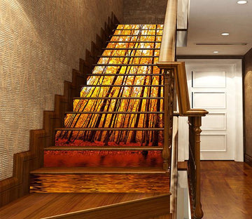 3D Autumn Forest 1022 Stair Risers Wallpaper AJ Wallpaper