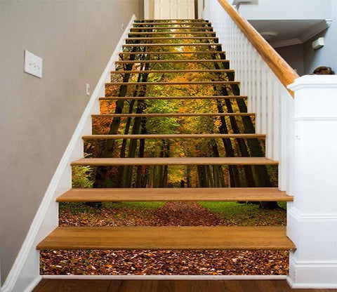 3D Color Forest Fallen Leaves 1553 Stair Risers