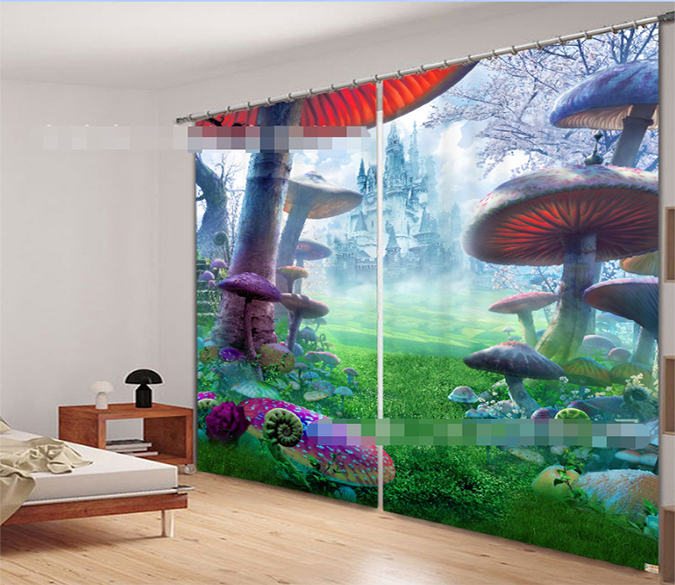 3D Grassland Castle Mushrooms 2162 Curtains Drapes Wallpaper AJ Wallpaper