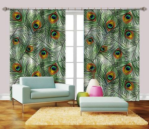3D Peacock Tail Feathers 2348 Curtains Drapes Wallpaper AJ Wallpaper