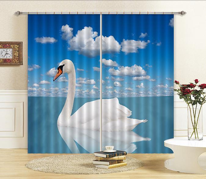 3D Sea White Swan 46 Curtains Drapes Wallpaper AJ Wallpaper