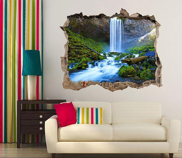 3D River Waterfall 327 Broken Wall Murals Wallpaper AJ Wallpaper