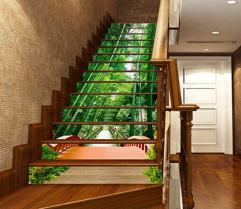 3D Bamboos Wood Bridge 944 Stair Risers Wallpaper AJ Wallpaper