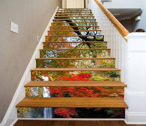 3D Mountain Color Trees Waterfall 1173 Stair Risers