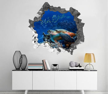 3D Ocean Turtle Fishes 197 Broken Wall Murals Wallpaper AJ Wallpaper