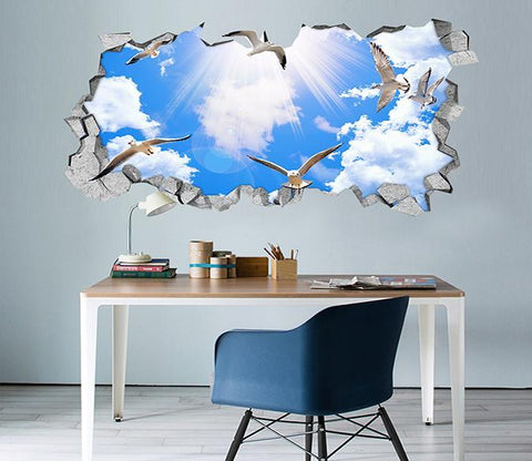 3D Blue Sky Doves 137 Broken Wall Murals Wallpaper AJ Wallpaper