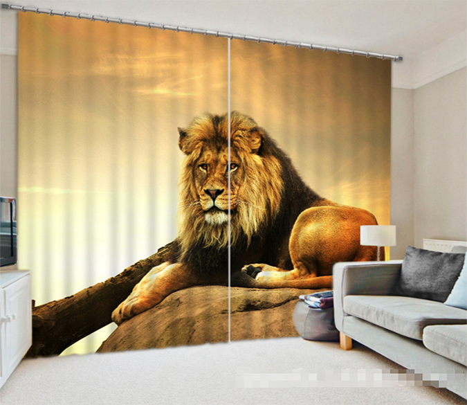3D Lion 1067 Curtains Drapes Wallpaper AJ Wallpaper