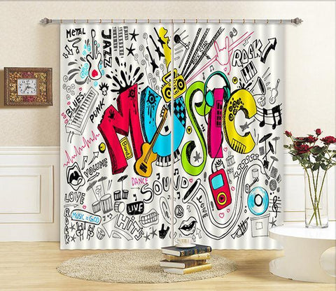 3D Graffiti Music 79 Curtains Drapes