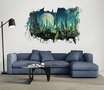 3D Advanced City 402 Broken Wall Murals Wallpaper AJ Wallpaper