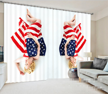 3D American Flags And Women 1004 Curtains Drapes Wallpaper AJ Wallpaper