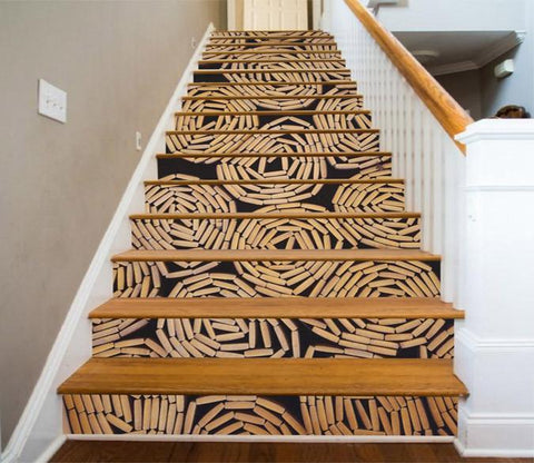 3D Bamboo Mats 1321 Stair Risers Wallpaper AJ Wallpaper