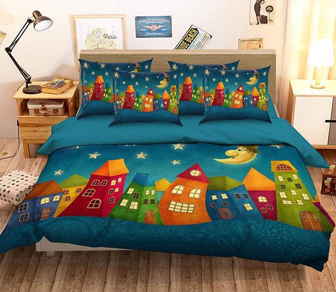 3D Lovely Cartoon Houses 130 Bed Pillowcases Quilt Wallpaper AJ Wallpaper