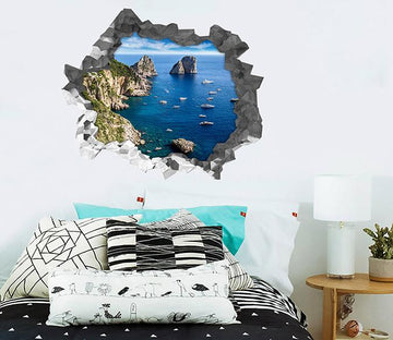 3D Sea Coast Boats 192 Broken Wall Murals Wallpaper AJ Wallpaper