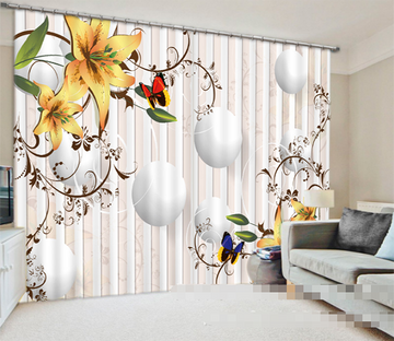 3D Balls Flowers 944 Curtains Drapes Wallpaper AJ Wallpaper