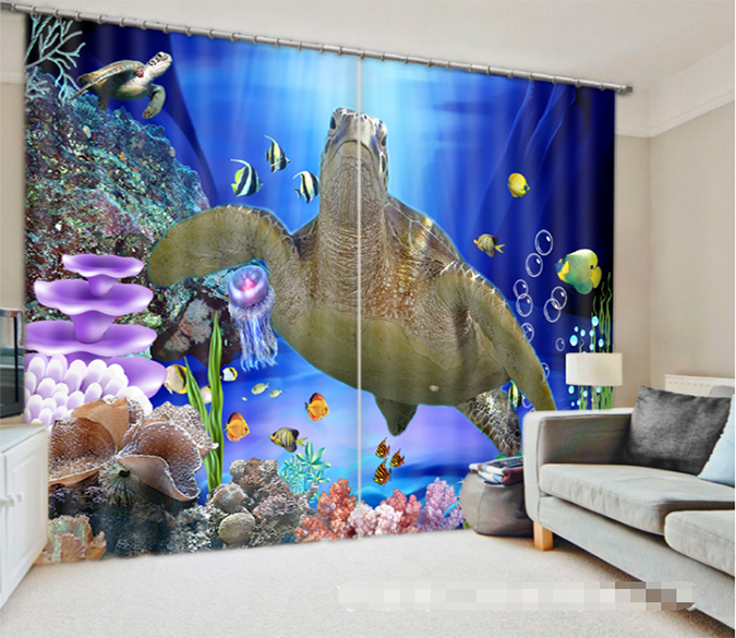 3D Seabed Turtle 1277 Curtains Drapes Wallpaper AJ Wallpaper