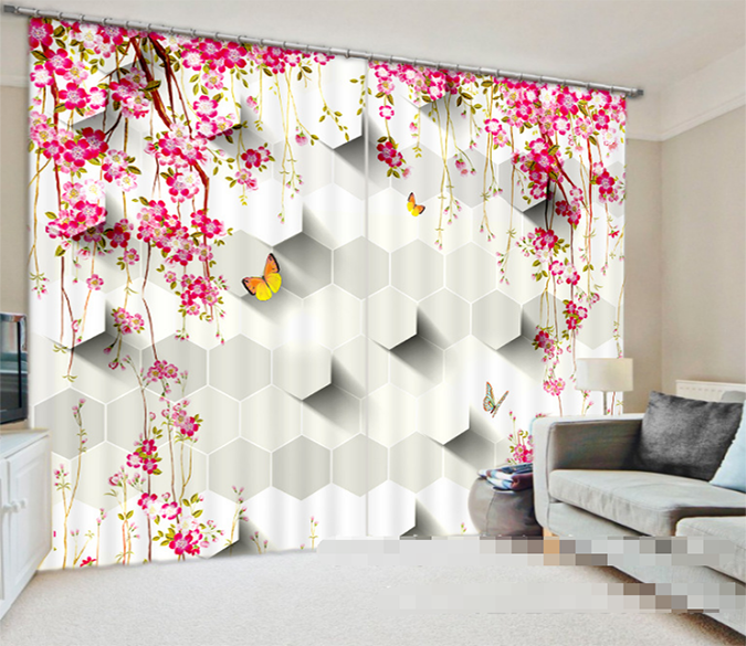 3D Flowers Butterflies Pattern 946 Curtains Drapes Wallpaper AJ Wallpaper